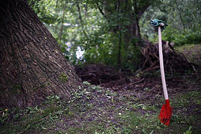 Shovel and gloves in the woods - p896m1479452 by Richard Brocken