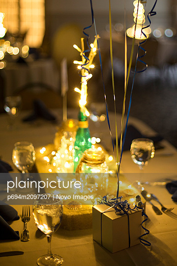 Party Centerpiece, Box with Ribbons and Lights - p694m2097207 by Novo Images