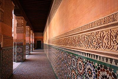 Wall in Ben Youssef Madrassa - p6440193 by Chris Caldicott