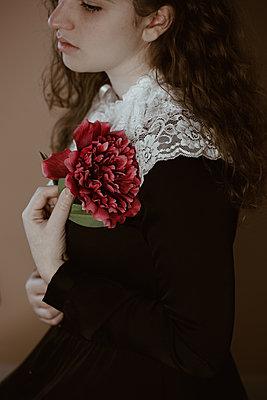 Girl in victorian dress - p1623m2222667 by Donatella Loi