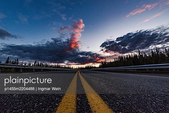Alaska, Road at sunset - p1455m2204488 by Ingmar Wein