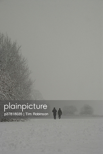 Figures in snowy landscape - p37818035 by Tim Robinson