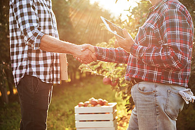 Fruit growers agreeing on a deal, shaking hands - p300m2166120 by gpointstudio
