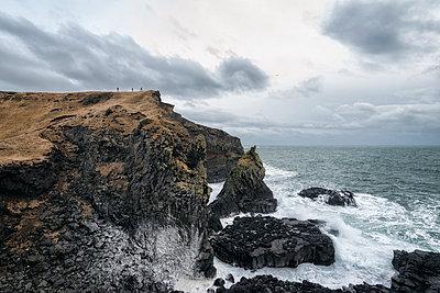 Rock formations near ocean, Hellissandur, Snaellsnes peninsula, Iceland - p555m1491149 by Patrick Lienin