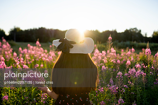 Woman on a meadow picking flowers - p1646m2297155 by Slava Chistyakov
