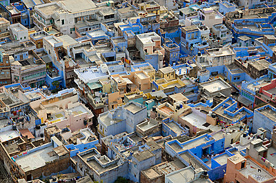 Blue City Rooftops - p1072m941365 by chinch gryniewicz
