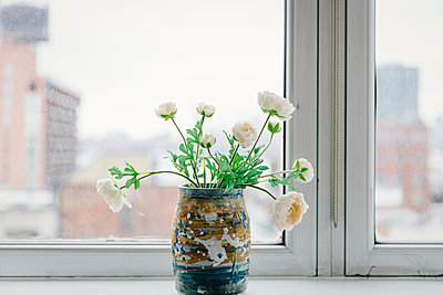 Close-up of flowers in vase on window sill at office - p1166m1567534 by Cavan Images