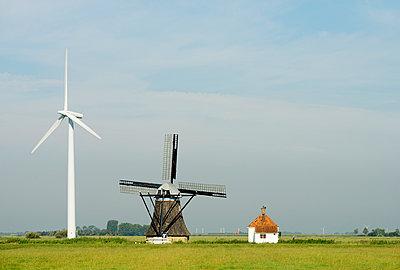 Wind turbine and windmill - p429m884734f by Mischa Keijser