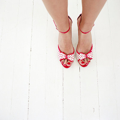 Red peep toes and nail polish - p6990042 by Sonja Speck