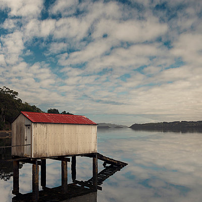Boat shed on the Otago Peninsula in New Zealand - p470m2128891 by Ingrid Michel