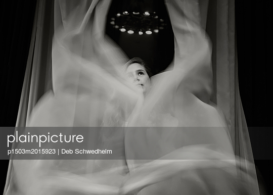 Girl Behind the Curtains - p1503m2015923 by Deb Schwedhelm