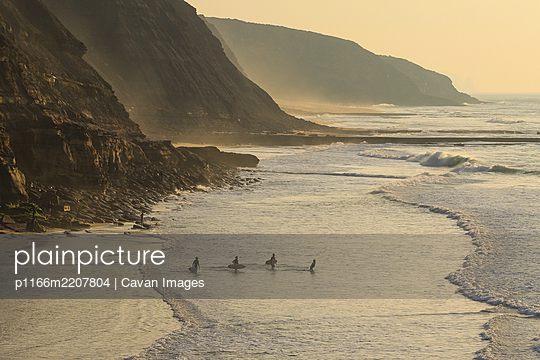 Group of surfers going to surf in the ocean at the sunset. - p1166m2207804 by Cavan Images