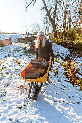 Woman holding wheelbarrow with logs in snow - p1427m2163633 by Steve Smith