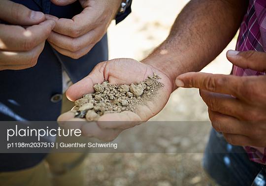 Weinbauer bei der Bodenprobe - p1198m2037513 von Guenther Schwering