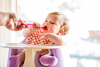Caucasian baby girl eating from spoon in high chair - p555m1411641 by Adam Hester