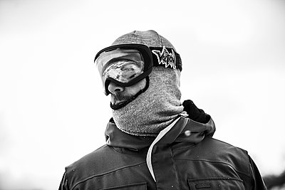 Portrait of snowboarder - p343m1447127 by Josh Campbell