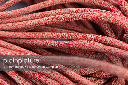 Red rope on catamaran - p1150m1539907 by Elise Ortiou Campion