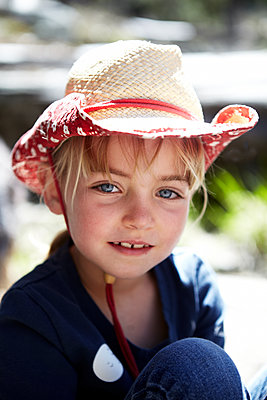 Girl in Straw Cowboy Hat - p1260m1077994 by Ted Catanzaro