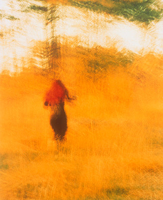 A woman walking through a yellow field - p3484224 by Marita Sundström
