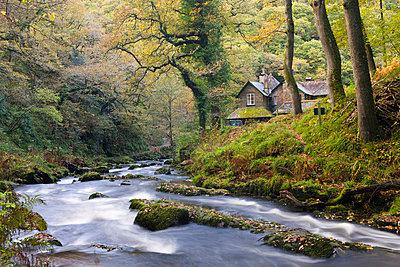 Watersmeet in the autumn, Exmoor National Park, Devon, England, United Kingdom, Europe - p8713006 by Adam Burton