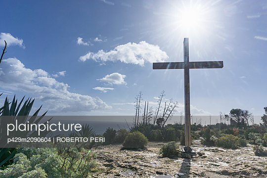 Cross shape structure on hilltop, Cagliari, Sardegna, Italy - p429m2090604 by ROBERTO PERI