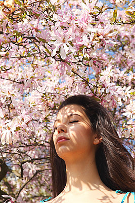 Young woman under a blossoming magnolia tree - p045m813642 by Jasmin Sander