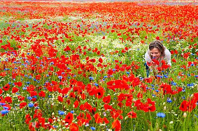 Woman smelling fresh flowers on red poppy field - p300m2197481 by Daniel Ingold