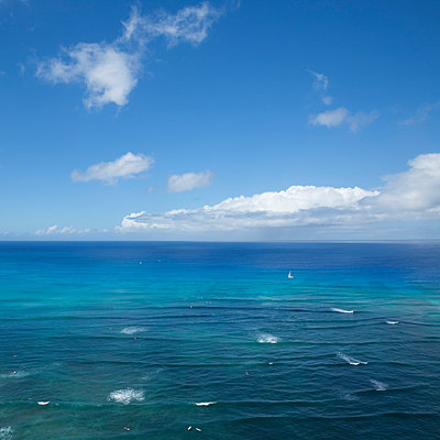 View from Waikiki Beach, Hawaii - p495m1034282 by Jeanene Scott