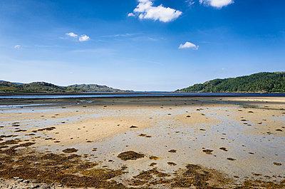 Sandy beach low tide west coast Scotland panorama - p609m1219829 by OSKARQ