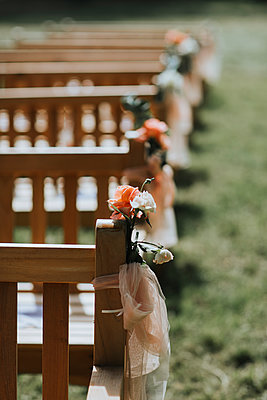 Wedding, Decorated benches - p680m2176331 by Stella Mai