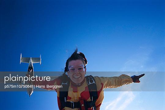 Parachute jumper in the air