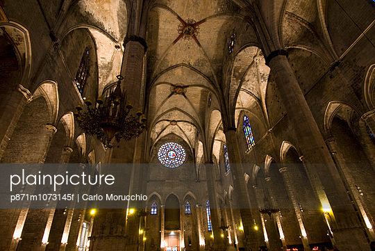 Catalan Gothic church of Santa Maria del Mar, Barcelona, Catalonia, Spain, Europe