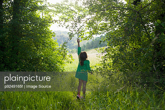 A girl trying to reach for a branch on a tree - p9249165f by Image Source