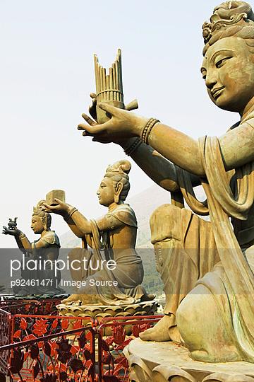 Statues near tian tan buddha - p9246147f by Image Source