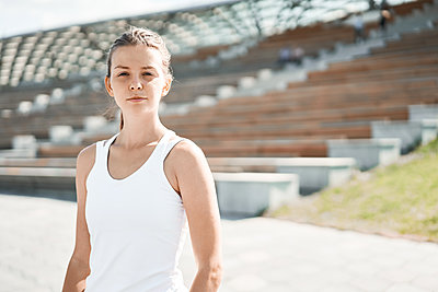 Portrait of young woman Athlete - p1630m2203526 by Sergey Mironov