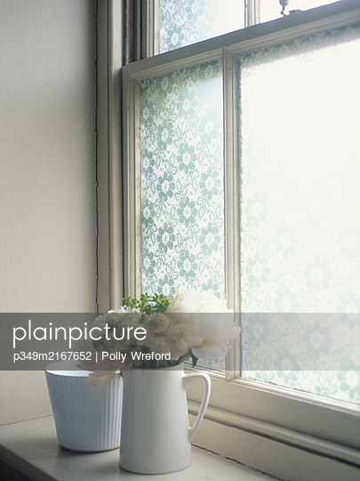 Cut flowers on windowsill with frosted glass - p349m2167652 by Polly Wreford