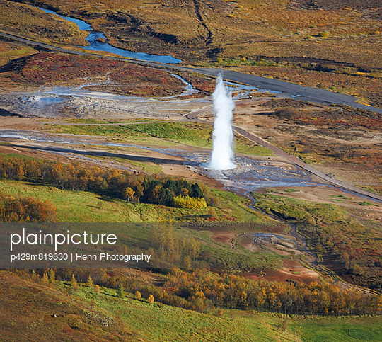 Aerial view of the Strokkur Geysir - p429m819830 by Henn Photography