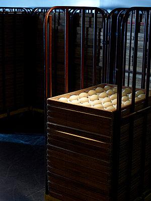 Brötchen Teiglinge im Kühlraum einer Bäckerei - p897m1183579 von MICK