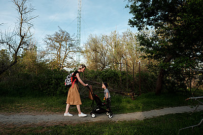 Woman and son in park - p1363m2134883 by Valery Skurydin