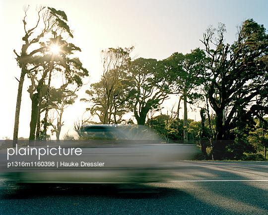 Auto auf Westküstenhighway No. 6 im Sonnenlicht, Westküste, Südinsel, Neuseeland - p1316m1160398 von Hauke Dressler