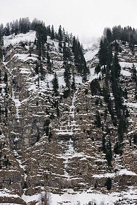 Alpine frozen waterfall - p1048m1182460 by Mark Wagner