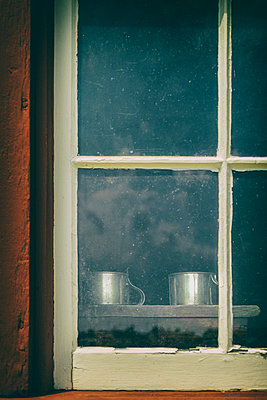 Window Looking in to Metal Cups - p1331m1182369 by Margie Hurwich
