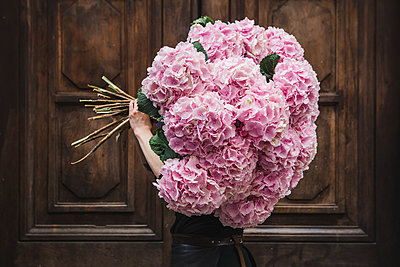 Woman carrying bunch of hydrangeas - p1150m2076426 by Elise Ortiou Campion