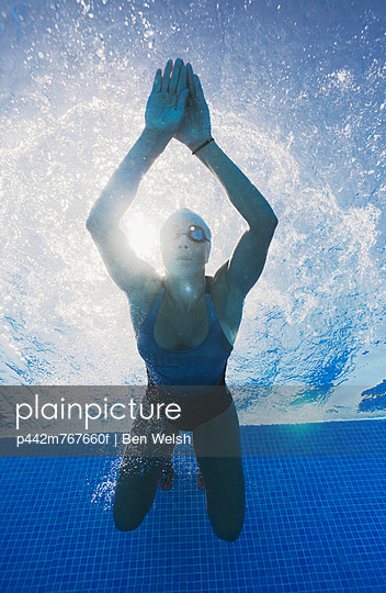 A woman swimming underwater;Tarifa cadiz andalusia spain