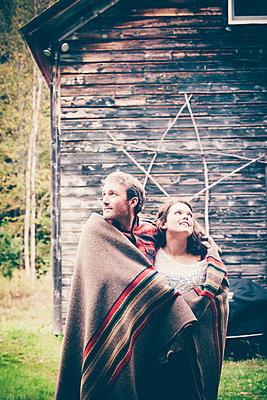 Lake George Fall Couples Portrait  - p1086m1488801 by Carrie Marie Burr