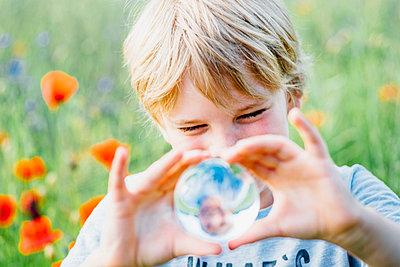 Boy holding tansparent sphere in poppy field - p300m2005478 von Jana Mänz