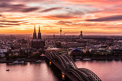 Cologne in the sunset - p401m1207770 by Frank Baquet