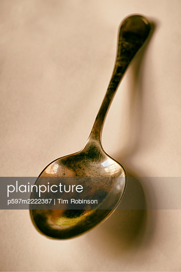 Still life of large dinner spoon - p597m2222387 by Tim Robinson