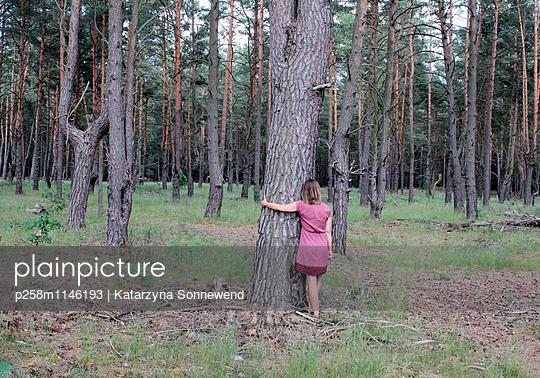 Frau liebt Baum - p258m1146193 von Katarzyna Sonnewend