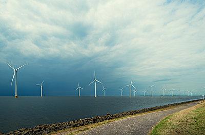 Offshore wind farm, IJsselmeer lake, Espel, Flevopolder, Netherlands - p429m1155503 by Mischa Keijser